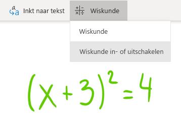 Optie voor de knop Wiskunde in OneNote voor Windows 10