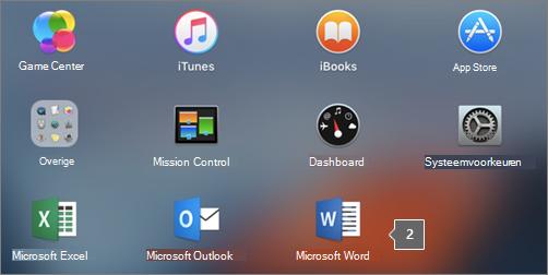 Hiermee wordt het Microsoft Word-pictogram in een gedeeltelijke weergave van Launchpad getoond