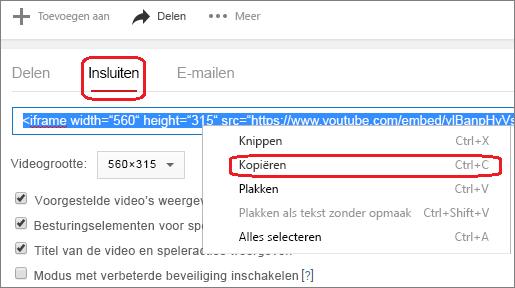De insluitcode iFrame kopiëren