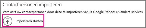 Bericht Contactpersonen importeren met Importeren starten gemarkeerd