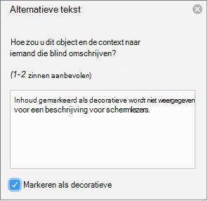 Selectievakje Decoratief geselecteerd in het deelvenster Alternatieve tekst