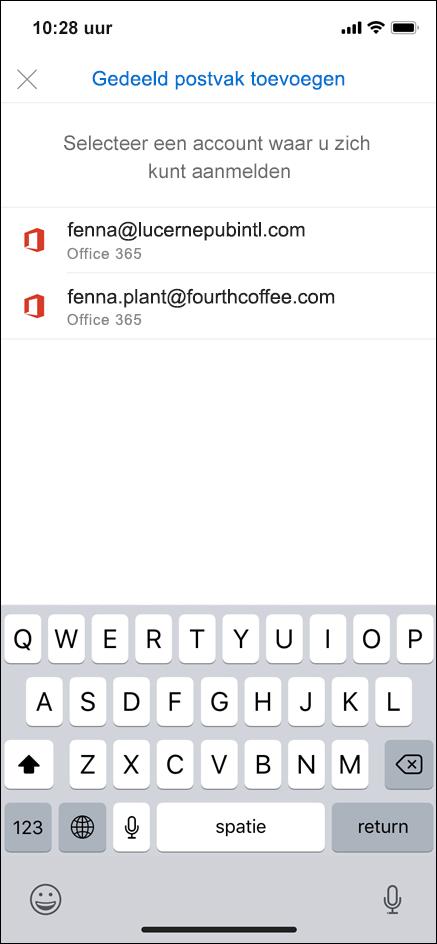Selecteer het account dat machtigingen heeft voor uw gedeelde postvak.