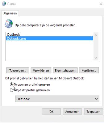 Schermafbeelding van het vak Profielen in Outlook