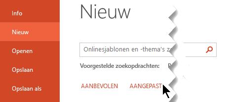 Selecteer onder bestand > nieuw de optie aangepast om uw persoonlijke sjablonen weer te geven
