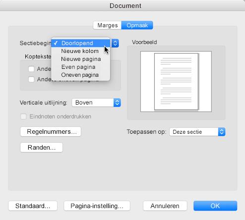 Als u een sectie-einde wilt wijzigen in Doorlopend, gaat u naar het menu Opmaak, klikt u op Document en stelt u het sectiebegin in op Doorlopend
