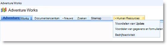 Vervolgkeuzelijst in bovenste koppelingsbalk met subsites van de huidige site