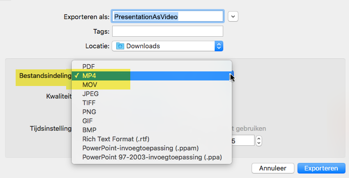 Abonnees van Office 365 kunnen een presentatie exporteren naar video als MP4-of MOV-bestand