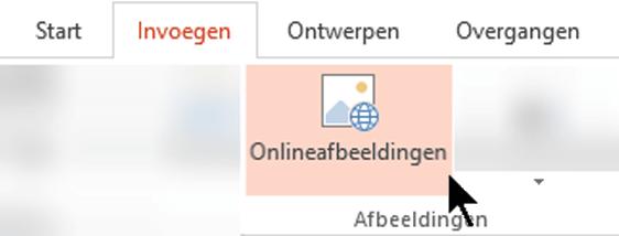 Selecteer Invoegen op het lint van de werkbalk en selecteer vervolgens Onlineafbeeldingen