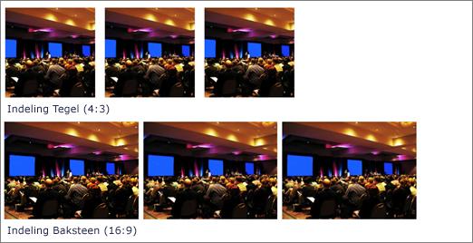Voorbeeld van de indelingen Tegels en Metselen voor het webonderdeel Afbeeldingengalerie