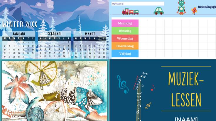 screenshots van premium kalender-, evenement- en planningssjablonen.