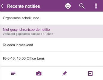 De lijst Recente notities in OneNote voor Android
