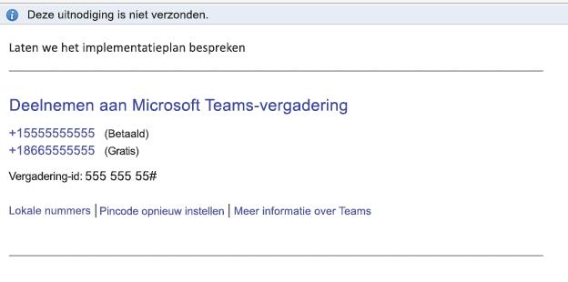 Koppeling Deelnemen aan Microsoft Teams-vergadering in de hoofdtekst van de gebeurtenis