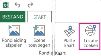 Knop Locatie zoeken op het tabblad Start van Power Map