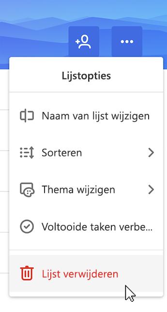 Schermafbeelding van de lijst met verwijderen geselecteerd