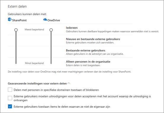 Instellingen voor extern delen op de pagina Delen van het OneDrive-beheercentrum