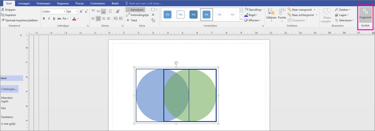 Klik op Fragmenteren in het gebied Grafiek.