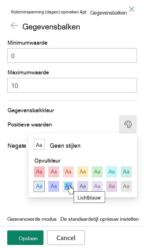 De opties voor het bewerken van een sjabloon voor gegevensbalken voor de opmaak van SharePoint-kolommen