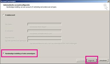 Handmatige configuratie gebruiken in Outlook 2013