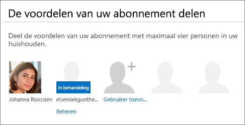 Schermafbeelding van de sectie De voordelen van uw abonnement delen van de Office 365-pagina waarop een gedeelde gebruiker als In behandeling wordt weergegeven.