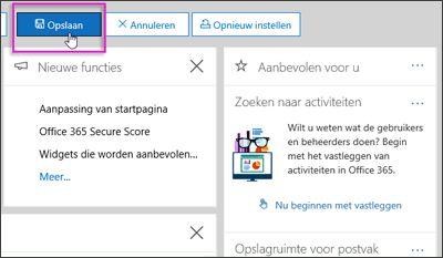 De knop Opslaan gemarkeerd op de balk Aanpassen op de startpagina van het beveiligings- en compliancecentrum