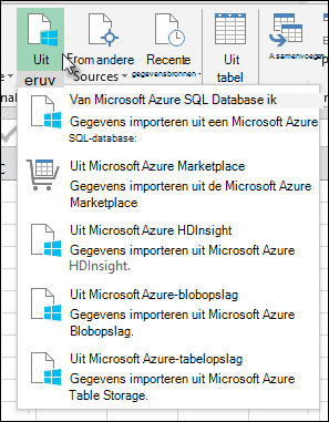 Dialoogvenster Importeren in Power Query vanuit Azure