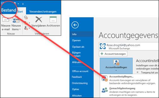 Selecteer Accountinstellingen een account verwijderen.