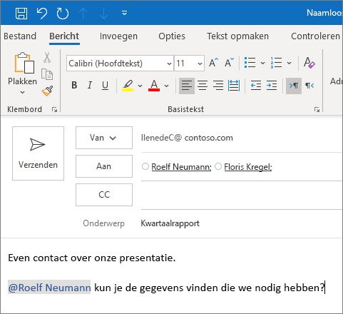 De functie @vermelding in Outlook