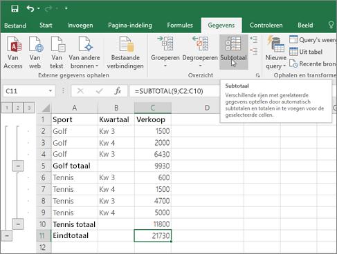 Klik op subtotaal op het tabblad gegevens om een Subtotaalrij toe te voegen aan uw Excel-gegevens