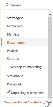 De balk Snel starten aan de linkerkant van het scherm met de optie 'Terug naar klassiek SharePoint' gemarkeerd.