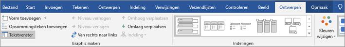Klik op ontwerpen en klik vervolgens op tekstvenster