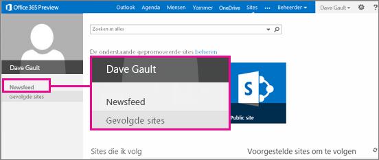 Schermafbeelding van de pagina Sites, waarbij de koppeling Nieuwsfeed is gemarkeerd