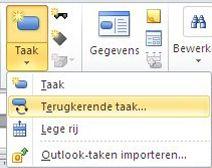 Afbeelding menu Taak invoegen.