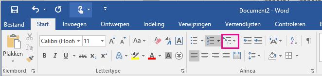 Het pictogram Lijst met meerdere niveaus