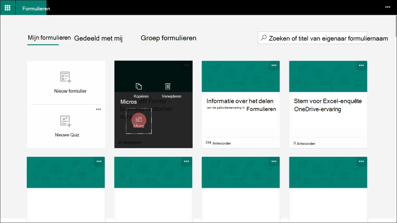 In Microsoft Forms, kiest u een formulier in de tab-toets mijn formulieren als u wilt verplaatsen naar een groep