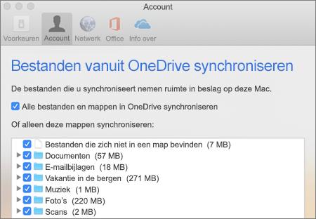 Dialoogvenster mappen synchroniseren voor OneDrive voor Mac