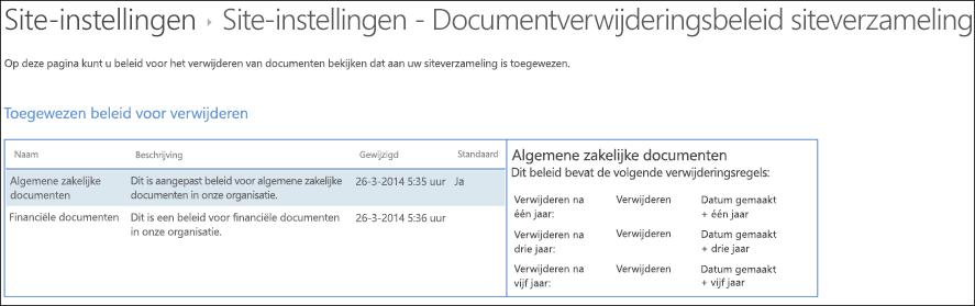 Documentverwijderingsbeleidsregels toegewezen aan een siteverzameling