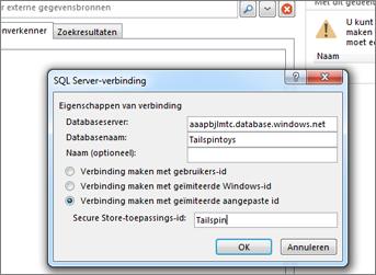 Schermafbeelding van het dialoogvenster SQL Server-verbinding, waar u de naam van uw SQL Azure-databaseserver kunt invullen en Verbinden maken met geïmiteerde aangepaste id kunt gebruiken om uw Secure Store-toepassings-id in te voeren.