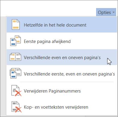 Optie Verschillende even en oneven pagina's