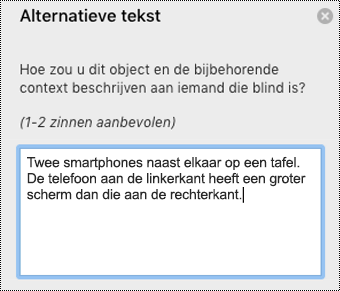 Alternatieve tekst in Outlook voor Mac.