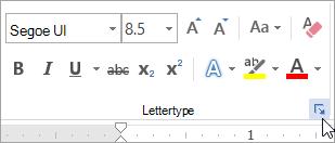 Te klikken op het startpictogram voor het dialoogvenster Lettertype