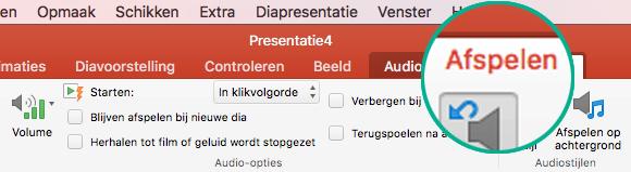 Wanneer een audiofragment is geselecteerd op een dia, wordt het tabblad Afspelen weergegeven op het werkbalklint waarmee u afspeelopties kunt instellen.