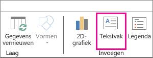 Knop Tekstvak op het tabblad Start van Power Map