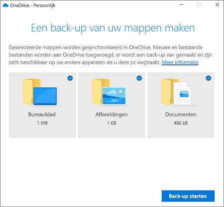 Schermafbeelding van het dialoogvenster Beveiliging van belangrijke mappen instellen in OneDrive