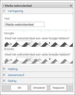 Schermopname van het bewerkingsvenster van het Media-webonderdeel met enkele eigenschappen die u kunt configureren