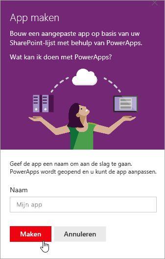 De PowerApp een naam geven en op Maken klikken.