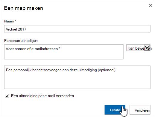 Dialoogvenster Delen in klassieke modus van SharePoint Online