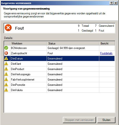 Statusberichten over gegevensvernieuwing in PowerPivot