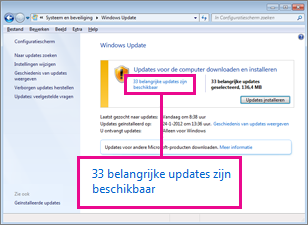 Koppelingen in het deelvenster Windows Update