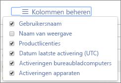 Office 365-rapporten – beschikbare kolommen voor Office-activeringen