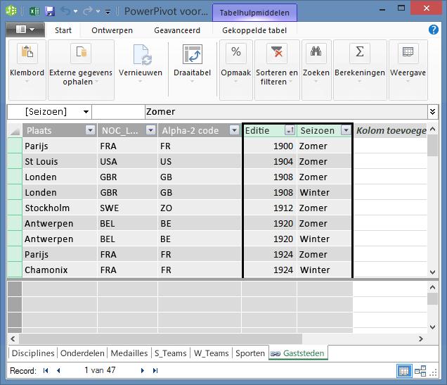 De tabel Hosts met de velden Edition en Season geselecteerd